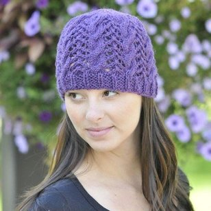 W308 Cascade 220 Heather Lace and Cable Hat (Free)