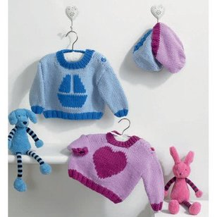 Lily and George Sweaters with Matching Hats PDF