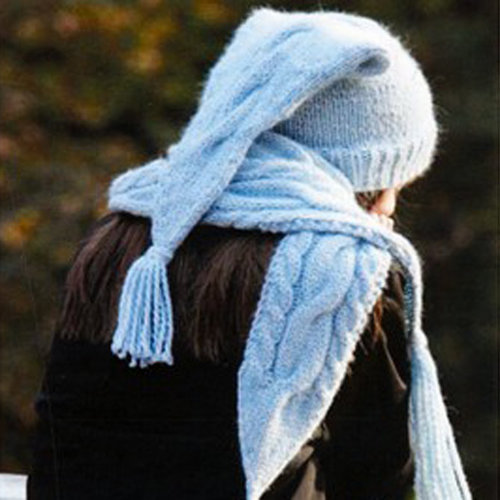View larger image of H-25 Winter Cables Hat & Scarf PDF