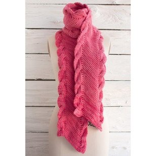 Bias Scarf with Ribbed Cables (Free)