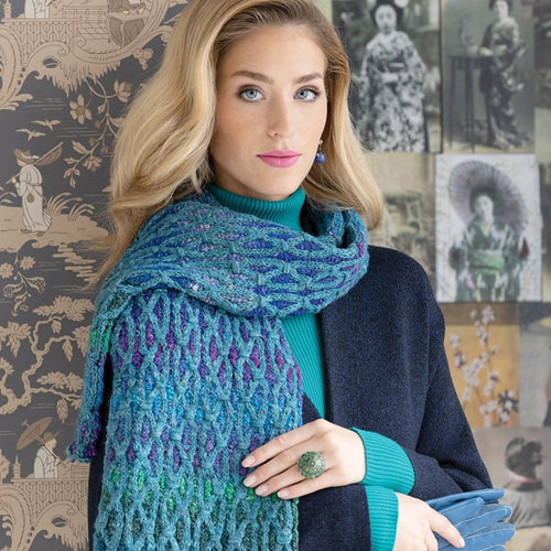 View larger image of 1712 Two-Color Cabled Scarf PDF