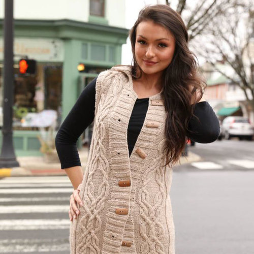 View larger image of 3102 Women's Long Cabled Vest PDF