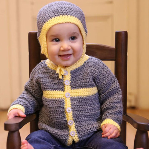 View larger image of 3381 Crocheted Cottage Baby Cardigan and Hat PDF