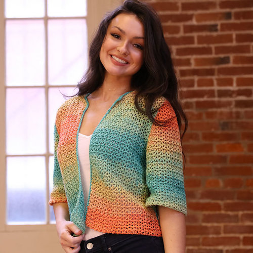 View larger image of 3394 Crocheted Carnivale Cardigan PDF