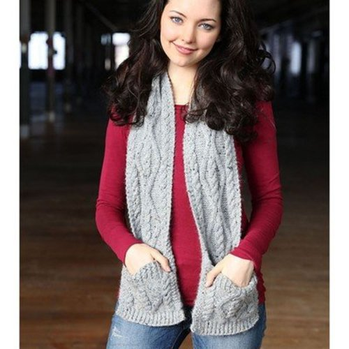 View larger image of F710 Cabled Pocket Scarf (Free)
