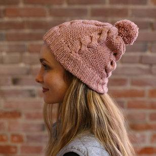 F906 Moon Shadow Cable and Seed Stitch Hat (Free)