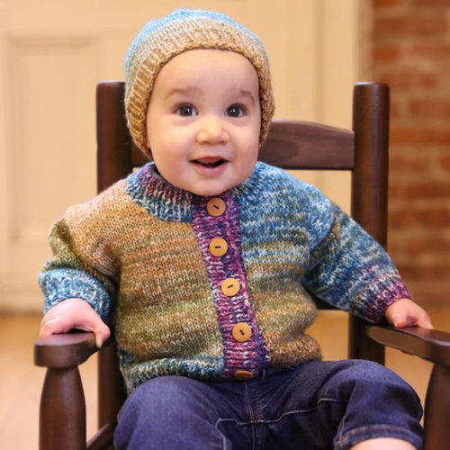 View larger image of F963 Encore Worsted Colorspun Baby Cardigan & Hat (Free)