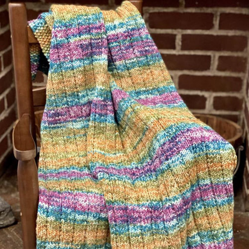 View larger image of F964 Encore Worsted Colorspun Vertical Lines Baby Blanket (Free)