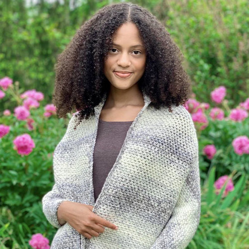 View larger image of F969 Encore Worsted Colorspun Kerry's Crochet Prayer Shawl (Free)