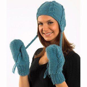 P608 Cabled Hat and Mittens