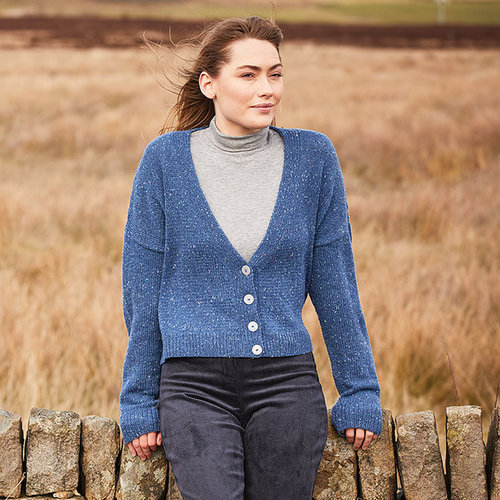 View larger image of 10147 Mock Cable V-Neck Cardigan in Haworth Tweed PDF
