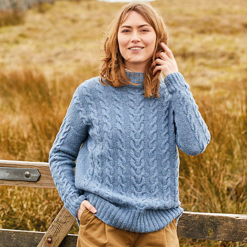 View larger image of 10153 All Over Cable Drop Sleeve Sweater in Haworth Tweed PDF