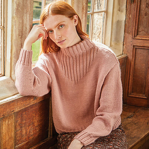View larger image of 10169 Funnel Neck Rib Detail Sweater in Country Classic Worsted PDF