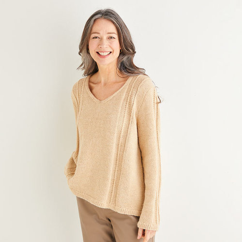 View larger image of 10173 V-Neck Stripe Detailed Sweater in Saltaire PDF