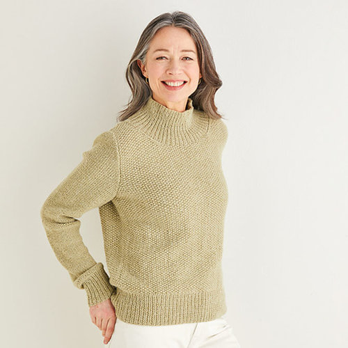 View larger image of 10176 Funnel Neck Moss Stitch Sweater in Saltaire PDF