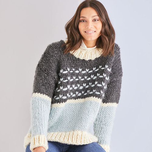 View larger image of 10184 Crew Neck Textured Sweater in Adventure PDF