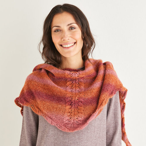 View larger image of 10214 Triangular Leaf Lace Shawl in Shawlie PDF