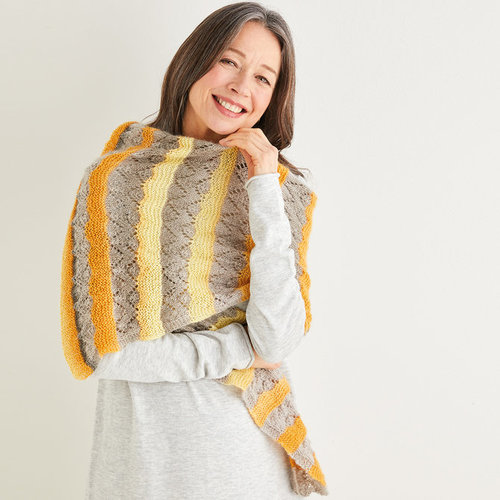 View larger image of 10219 Crescent Lace Striped Shawl in Shawlie PDF