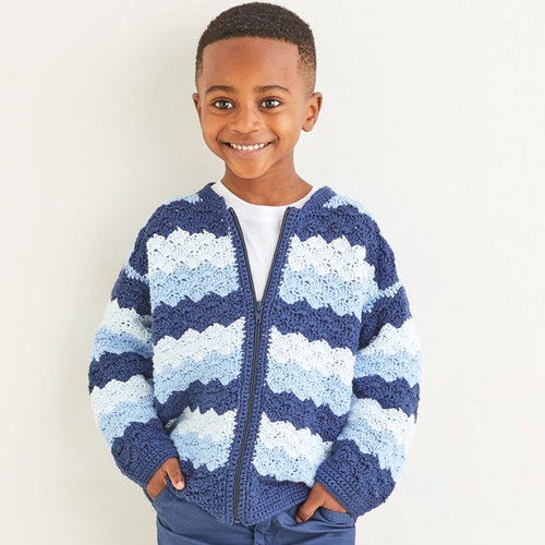 View larger image of 2574 Crochet Wave Stitch Jacket in Snuggly 100% Cotton PDF