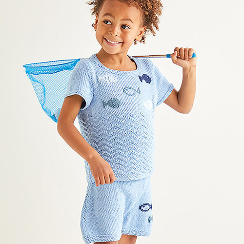 View larger image of 2575 Under the Sea Top & Shorts in Snuggly 100% Cotton PDF