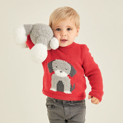 View larger image of 5371 Baby Sweater with Dog Motif Kit