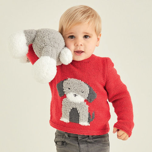 View larger image of 5371 Baby Sweater with Dog Motif PDF