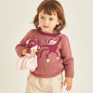 5374 Baby Sweater with Monkey Motif and Toy PDF