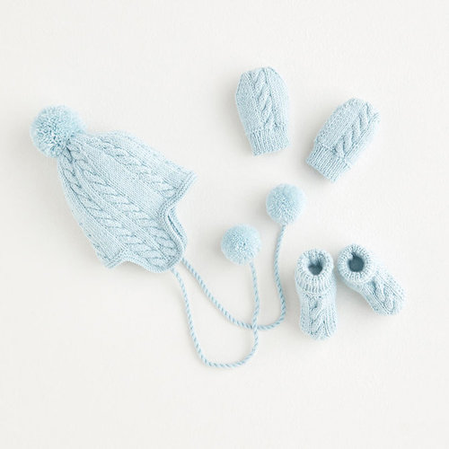 View larger image of 5392 Pom Pom Hat, Mittens & Bootees PDF