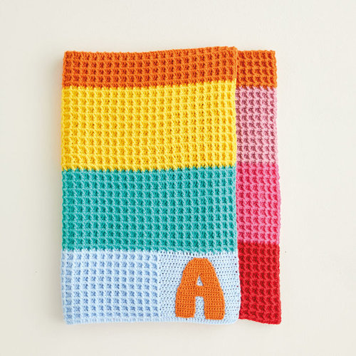View larger image of 5415 Crochet Rainbow Waffle Stitch Blankets PDF