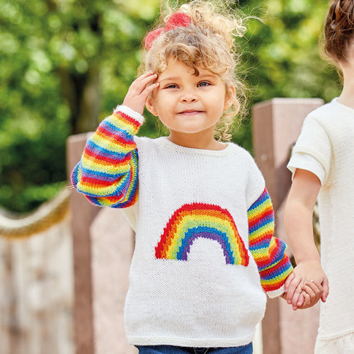 View larger image of S7082 Sweater with Rainbow Intarsia Kit