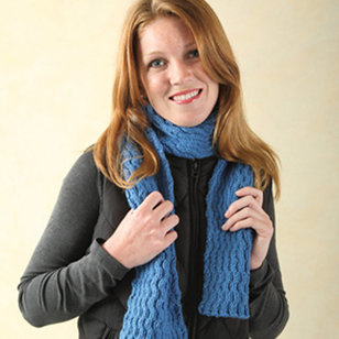 240 Reversible Wave Cabled Scarf (Free)