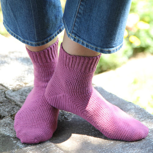 View larger image of 425 Cosmos Toe-Up Crocheted Socks
