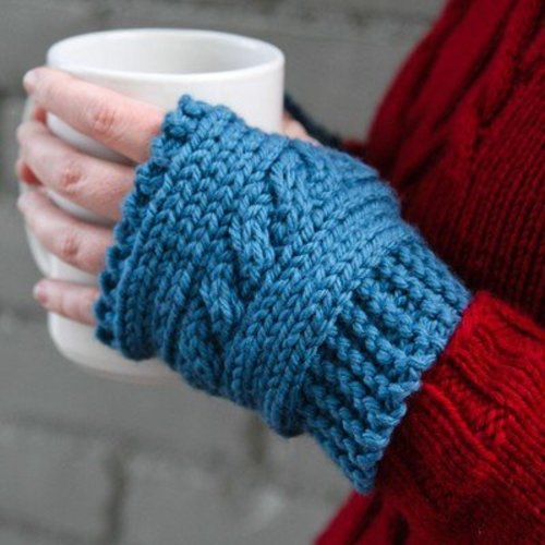View larger image of 610 Cabled Hand Warmers (Free)